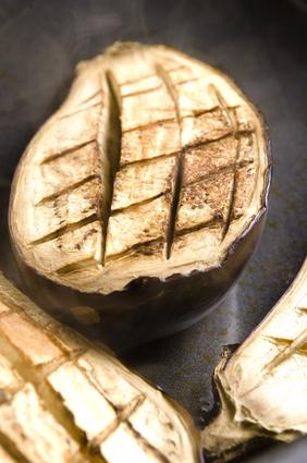 Baked hot eggplant