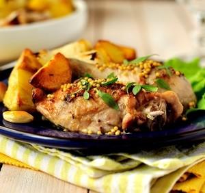 Steak z kuřecího stehna v hořčičných semínkách s oreganem