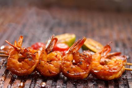 Grilované krevety sananasem a bylinkami