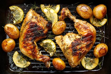 Grilované kuře scitrónem a bramborami